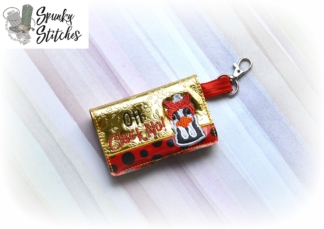 Oh Cluck No Chicken in a bandana mini wallet key fob in the hoop embroidery file by spunky stiches