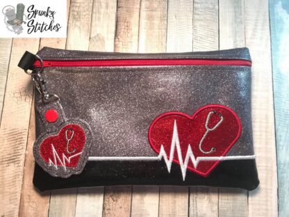 heart beat with stethescope zipper bag in the hoop embroidery file by spunky stitches