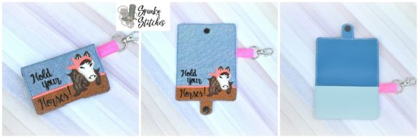 Horse with bandana mini wallet key fob in the hoop embroidery file by spunky stitches
