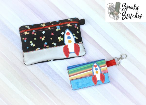 Rocket zipper bag in the hoop embroidery file by spunky stitches