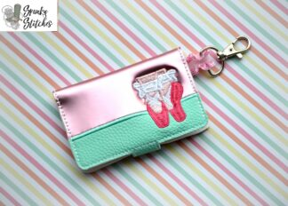 ballet mini wallet key fob embroidery design by spunky stitches