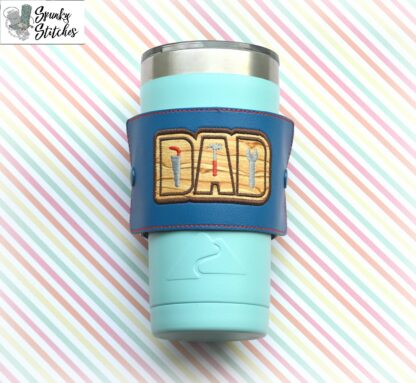 Dad tool cup wrap in the hoop embroidery file by spunkystitches