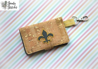 Fleur de lis mini wallet key fob in the hoop embroidery design by spunky stitches
