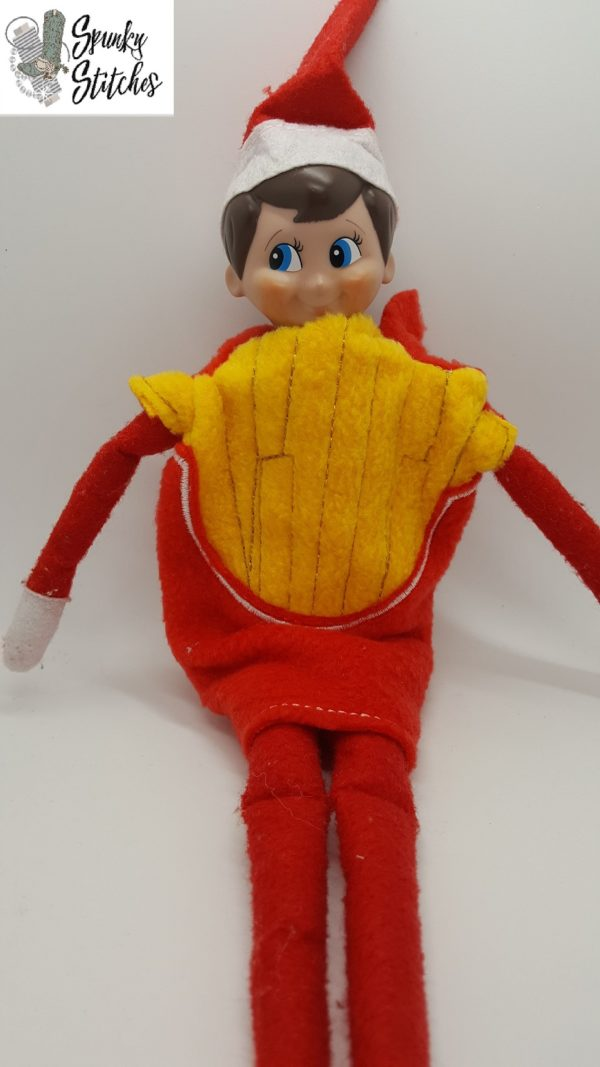 french fries costume for elf in the hoop embroidery file by spunky stitches.