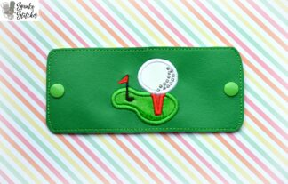 golf tee cup wrap in the hoop embroidery design by spunky stitches