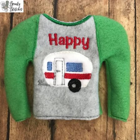 Happy Camper Elf shirt in the hoop embroidery file by spunkystitches