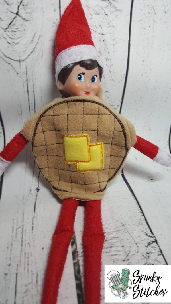 Waffle elf costumer in the hoop embroidery file by spunky stitches.