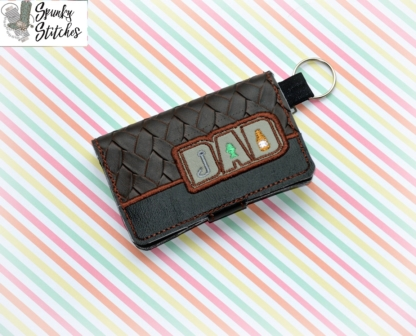 Dad fishing zipper wallet key fob in the hoop embroidery file by spunkystitches