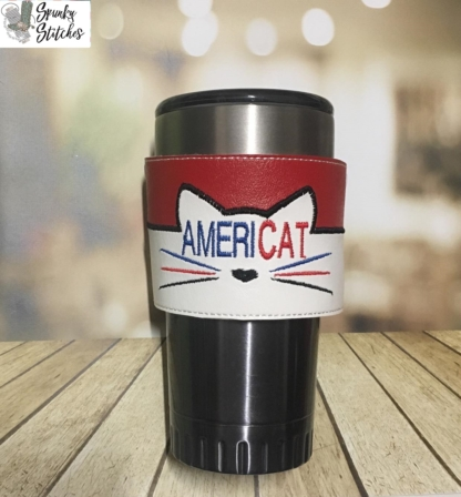 americat cup wrap in the hoop embroidery file by spunkystitches