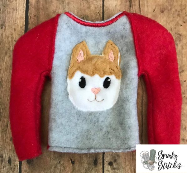 elf alpaca raglan shirt in the hoop embroidery file by spunkystitches