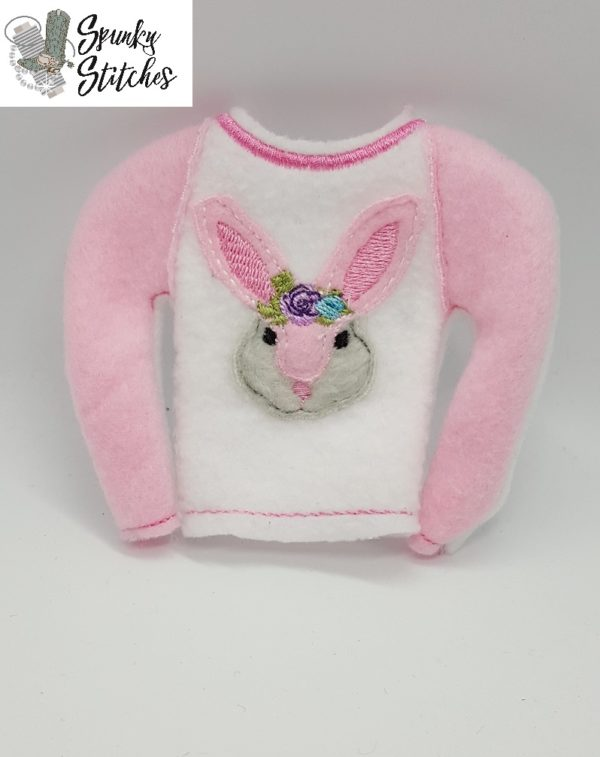 bunny elf raglan shirt in the hoop embroidery file by spunky stitches