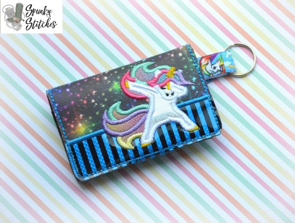 unicorn dabbing zipper mini wallet key fob in the hoop embroidery file by spunky stitches