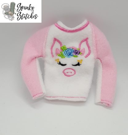 pig elf raglan shirt in the hoop embroidery file by spunky stitches