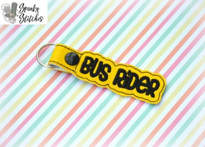 bus rider key fob in the hoop embroidery file by spunky stitches