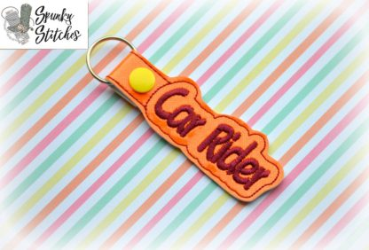 car rider key fob in the hoop embroidery file by spunky stitches
