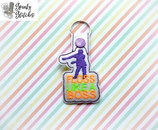floss boss key fob in the hoop embroidery file by spunky stitches
