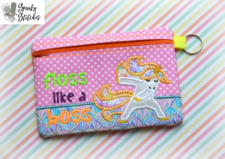 flossing unicorn zipper bag in the hoop embroidery file by spunky stitches