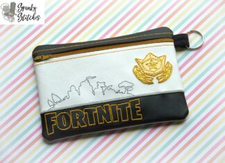 fortnite zipper bag in the hoop embroidery file by spunky stitches