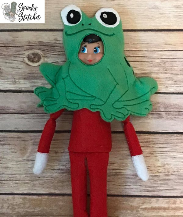 frog elf costume in the hoop embroidery file by spunky stitches
