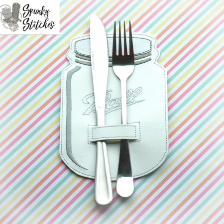 mason jar silverware holder in the hoop embroidery file by spunky stitches