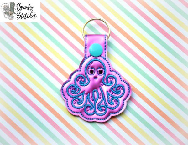 octopus key fob in the hoop embroidery file by spunky stitches