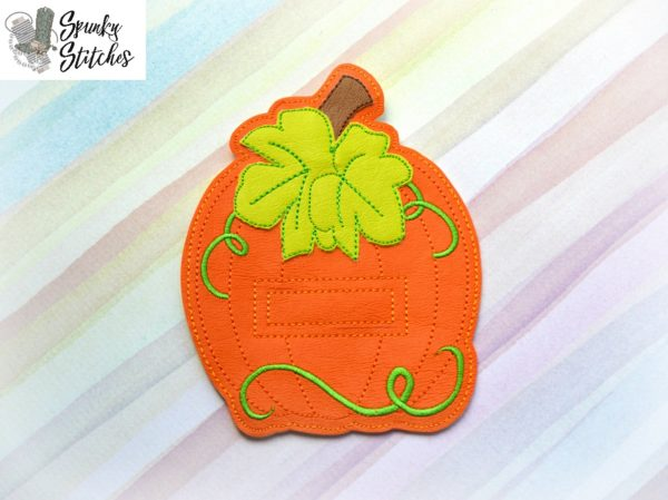 pumpkin hat silverware holder in the hoop embroidery file by spunky stitches