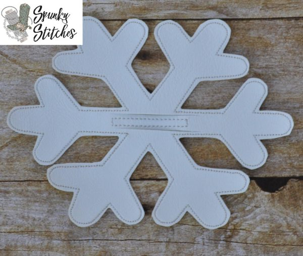 snowflake silverware holder in the hoop embroidery file by spunky stitches