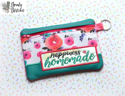 Happiness is homemade zipper bag in the hoop embroidery file by spunky stitches