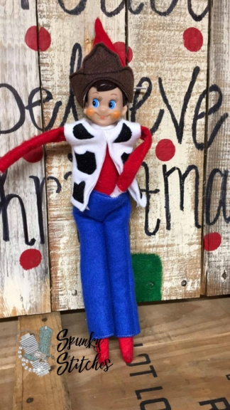 woody elf costume in the hoop embroidery file by spunky stitches