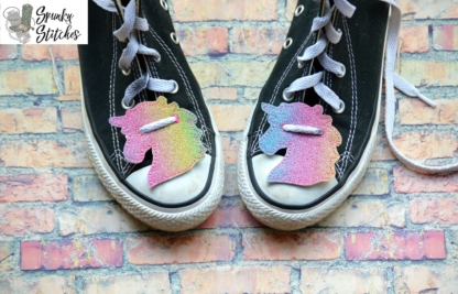 unicorn shoe lace tags in the hoop embroidery file by spunky stitches