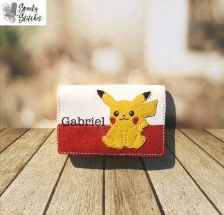 pikachu mini zipper wallet key fob in the hoop embroidery file by spunky stitches