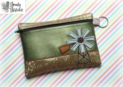 Vintage Windmill zipper bag in the hoop embroidery file by spunky stitches