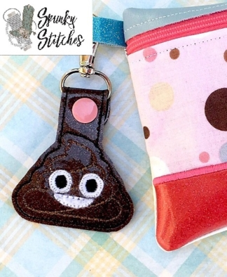 Poo key fob in the hoop embroidery file by spunky stitches