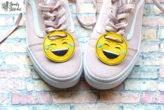 smile emoji shoe tag in the hoop embroidery file by spunky stitches