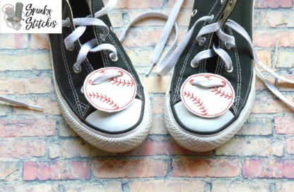 baseball shoe tag in the hoop embroidery file by spunky stitches