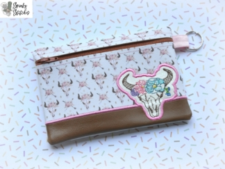 cow zipper bag in the hoop embroidery file by spunky stitches