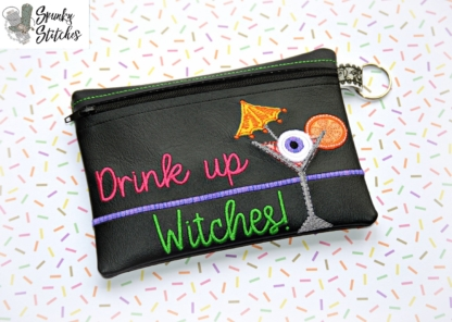 witches zipper bag in the hoop embroidery file by spunky stitches