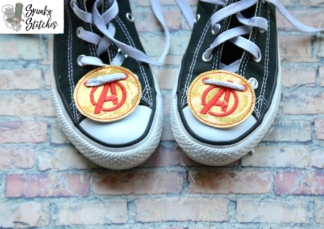 Avengers shoe tag in the hoop embroidery file by spunky stitches