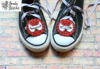 Spiderman shoe tag in the hoop embroidery file by spunky stitches