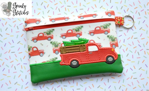 Christmas Truck zipper bag in the hoop embroidery file by spunky stitches