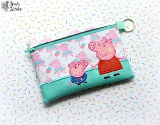 Peppa zipper bag in the hoop embroidery file by spunky stitches
