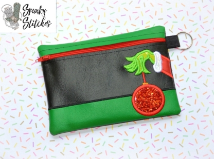 grinch ball bag zipper bag in the hoop embroidery file by spunky stitchesgrinch ball bag zipper bag in the hoop embroidery file by spunky stitches
