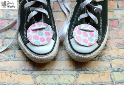 blank shoe tags in the hoop embroidery file by spunky stitches