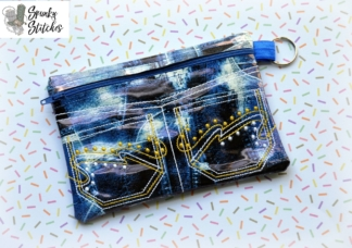 Jean Pockets Zipper Bag in the hoop embroidery file by spunky stitches