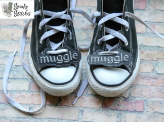 muggle shoe tags in the hoop embroidery file by spunky stitches