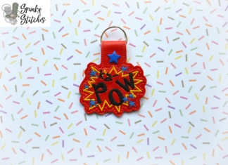 kapow key fob in the hoop embroidery file by spunky stitches