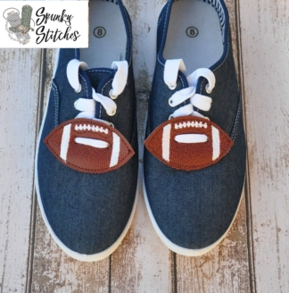 football shoe tags in the hoop embroidery file by spunky stitches