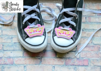 crown shoe tags in the hoop embroidery file by spunky stitches