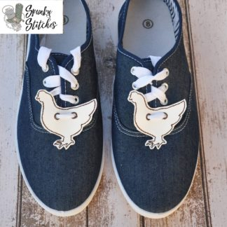 chicken shoe tags in the hoop embroidery file by spunky stitches