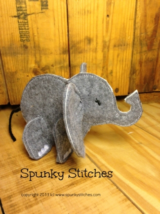3D Elephant felt toy in the hoop embroidery file by spunky stitches